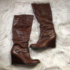 Guess brown leather wedge boots